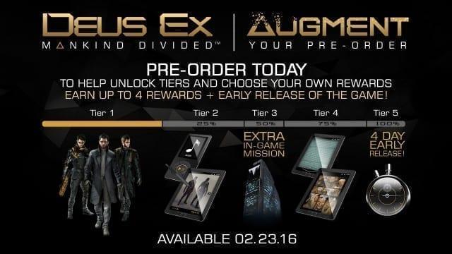 Alguns dos bônus da compra antecipada de Deus Ex: Mankind Divided  Pre Order