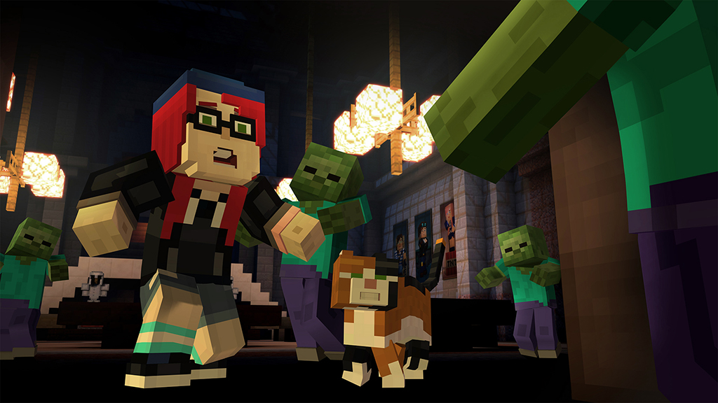 Minecraft story mode zombies atacando