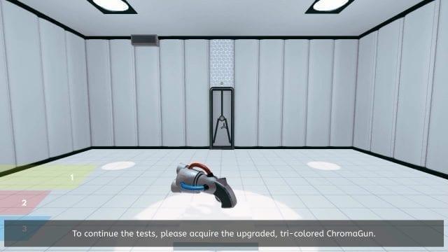 A arma ChromaGun do jogo de quebra-cabeças