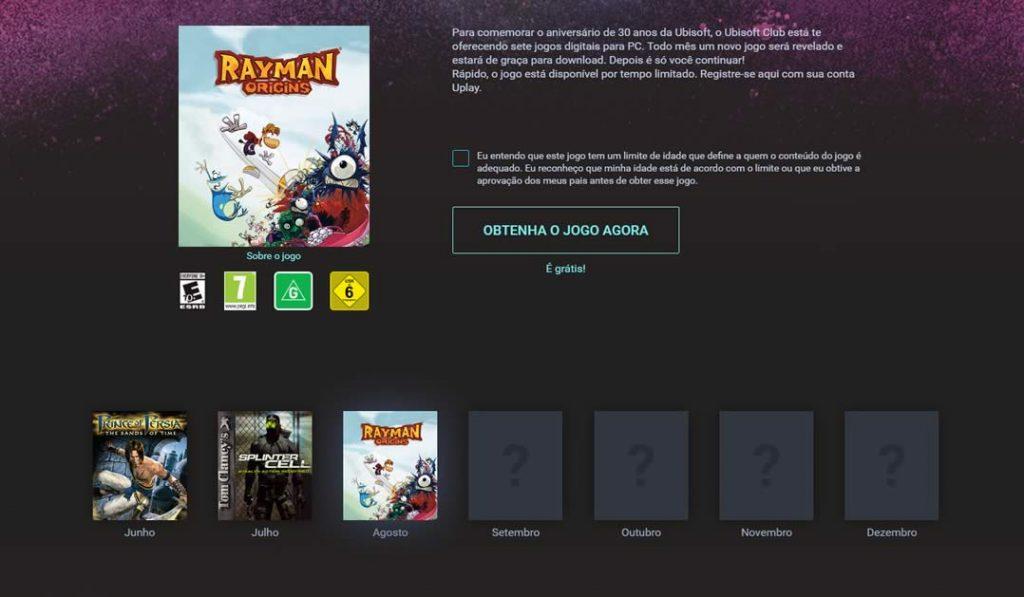 Promoção Ubisoft que dá jogos de graça 2016