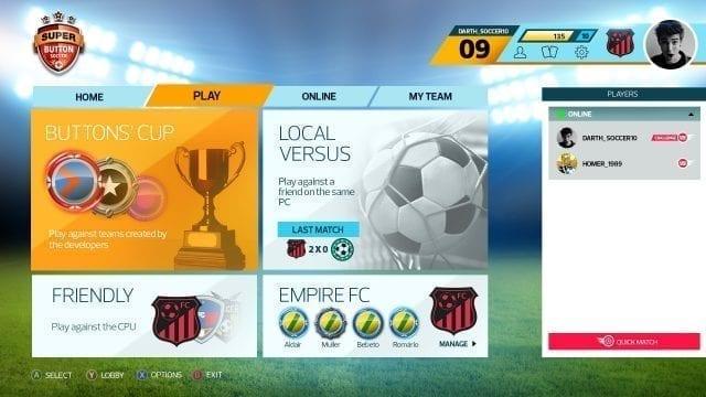 Super Button Soccer Menu