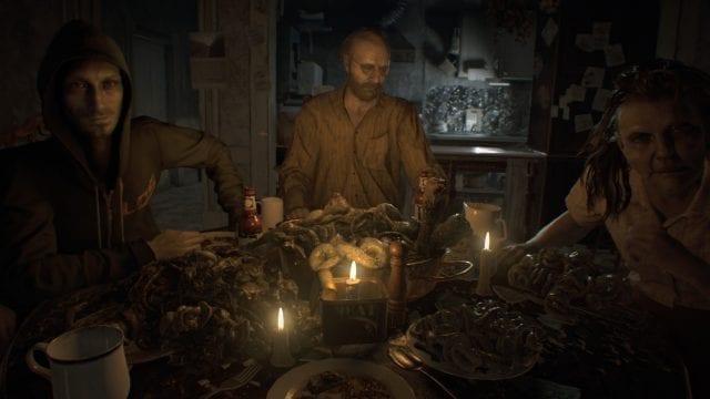 O jantar com a família Baker: Lucas, Jack e Margeritte