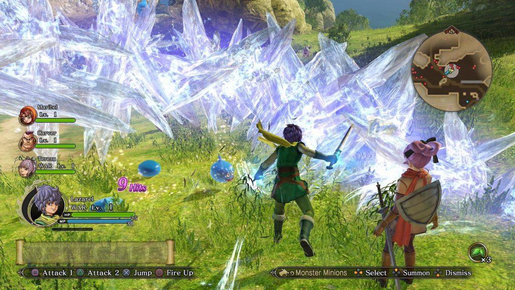 Dragon Quest Heroes II: Os slimes tremem na base com uma rajada fria dessas.