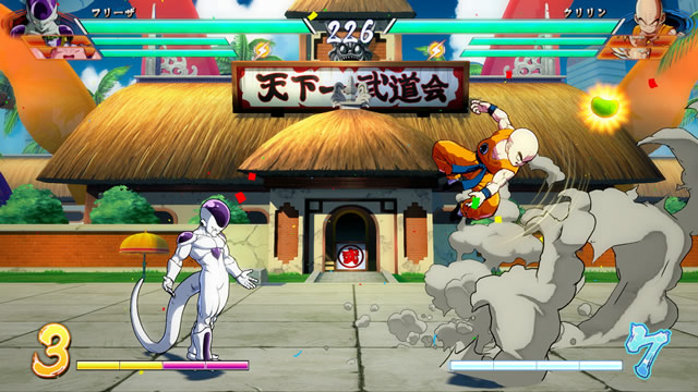 DRAGON BALL FighterZ Frieza contra Kuririn