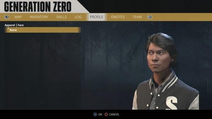 Tela de criação de personagem em Generation Zero