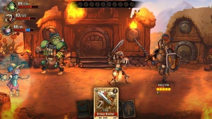 batalha contra um chefe em Steamworld Quest