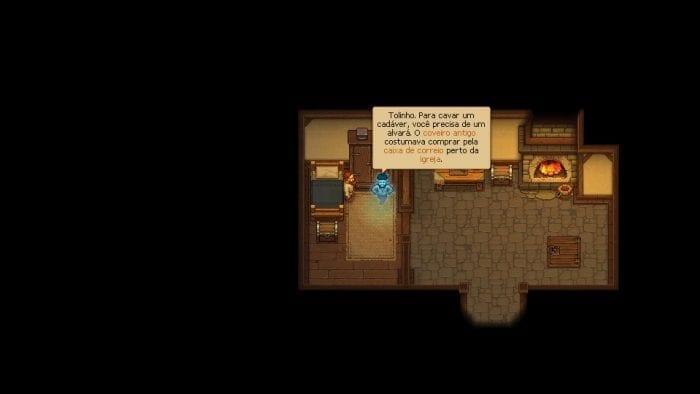 Fantasma visita o protagonista em Graveyard Keeper