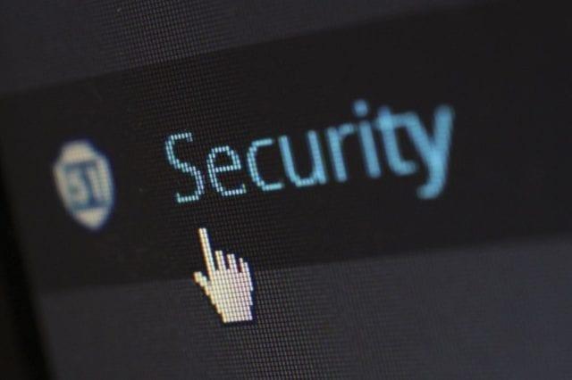 Tela com a palavra Security