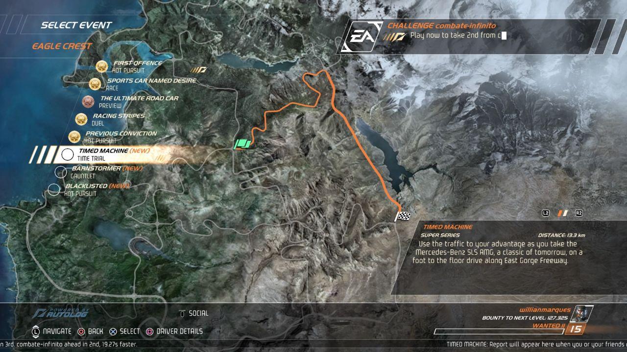 Need for Speed: Hot Pursuit Remastered - Mapa com os diferentes eventos