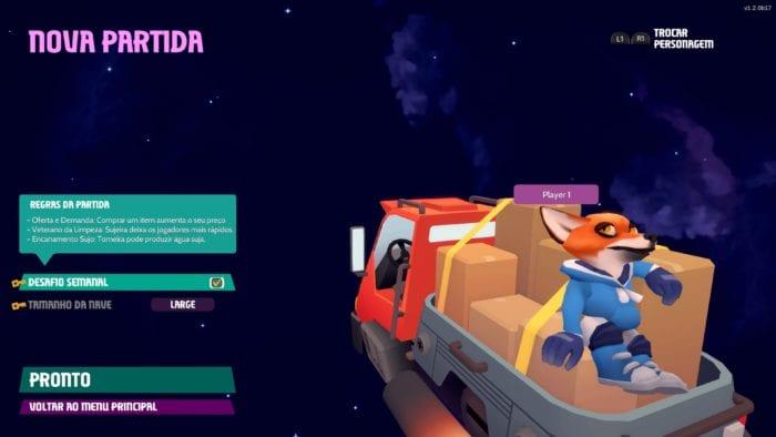 Out Of Space - Seleção de Nível e Personagem