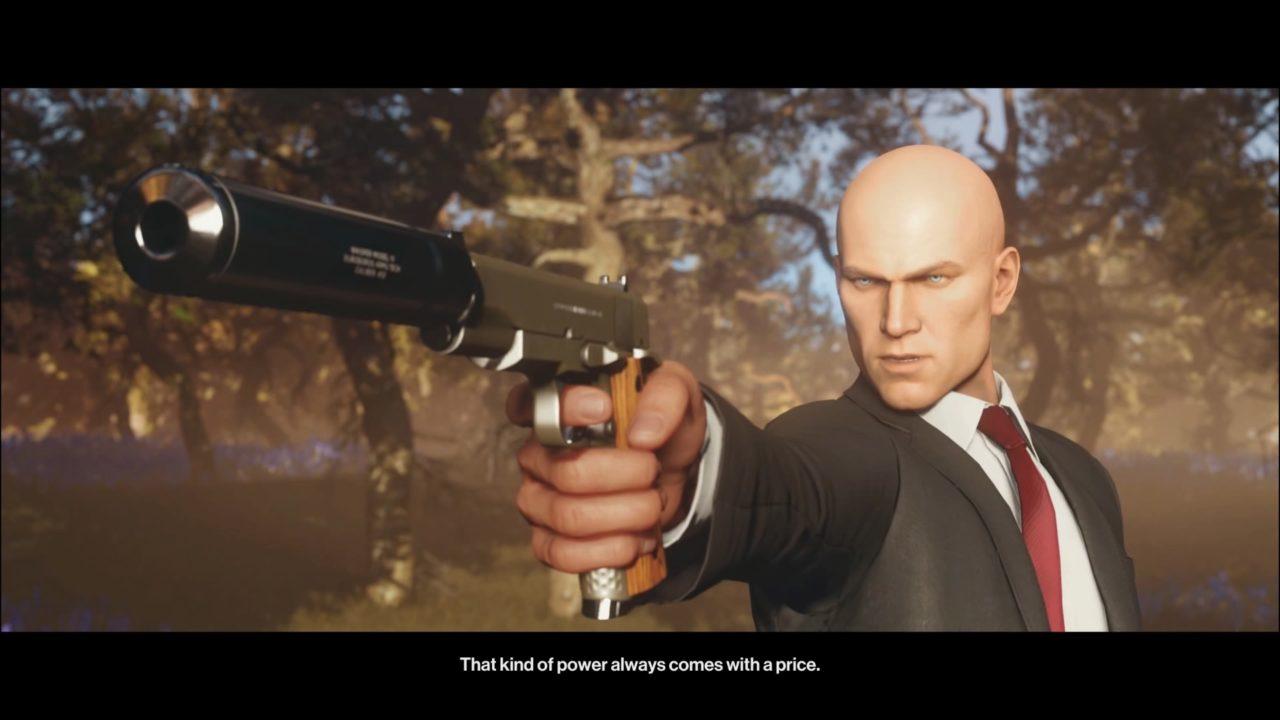 HITMAN 3 apontando a arma