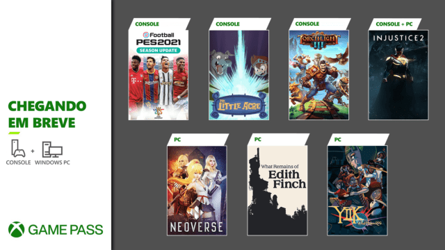 Xbox Game Pass no Injustice 2, PES 202 e Torchlight III