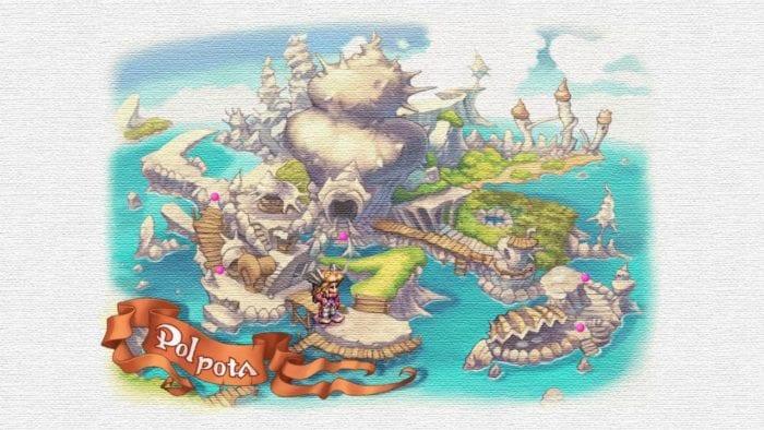 Mapa de uma cidade em Legend of Mana